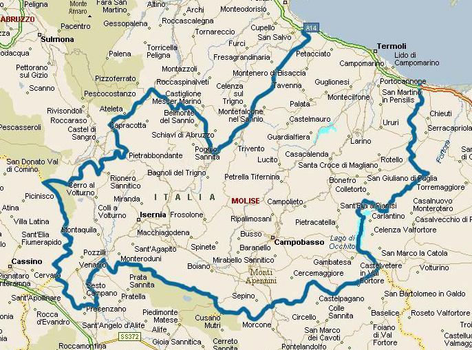 Cartina Regione Molise.La Regione Macchia Valfortore